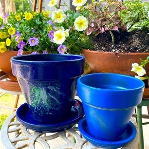 Handmade Terracotta Planters Set Of 2 Blue Skies